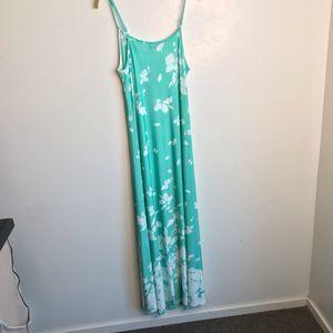 Reborn Maxi Dress Green White Print Size M